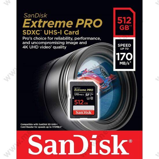 SANDISK EXTREME PRO SDXC 512GB CLASS 10 UHS-I U3 V30 170/90 MB/s