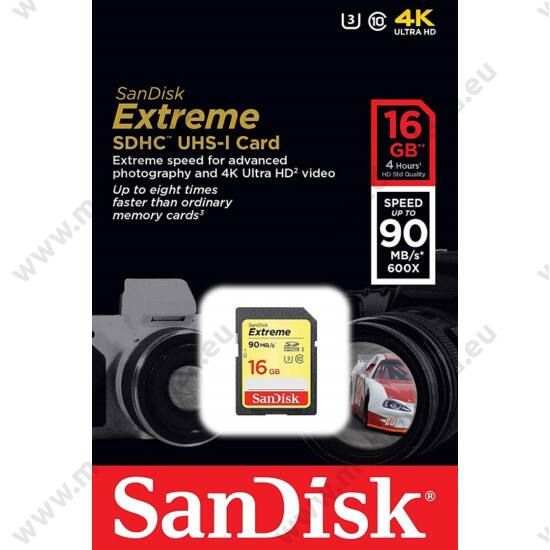 SANDISK EXTREME SDHC 16GB CLASS 10 UHS-I U3 V30 90/40 MB/s