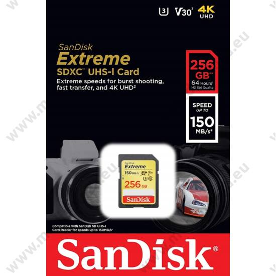 SANDISK EXTREME SDXC 256GB CLASS 10 UHS-I U3 V30 150/70 MB/s