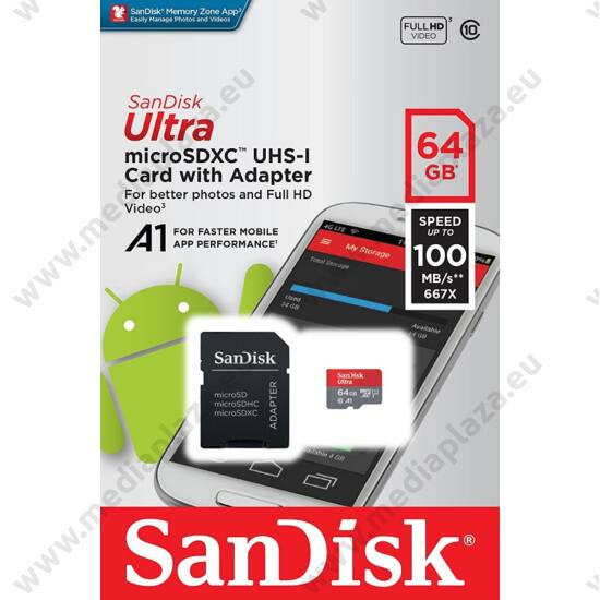 SANDISK ULTRA MICRO SDXC 64GB + ADAPTER CLASS 10 UHS-I U1 A1 ANDROID 100 MB/s