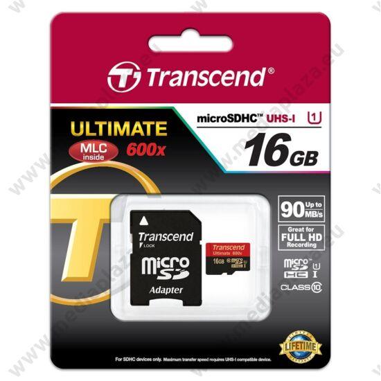 TRANSCEND ULTIMATE 600X MICRO SDHC 16GB + ADAPTER CLASS 10 UHS-I (90 MB/S OLVASÁSI SEBESSÉG)