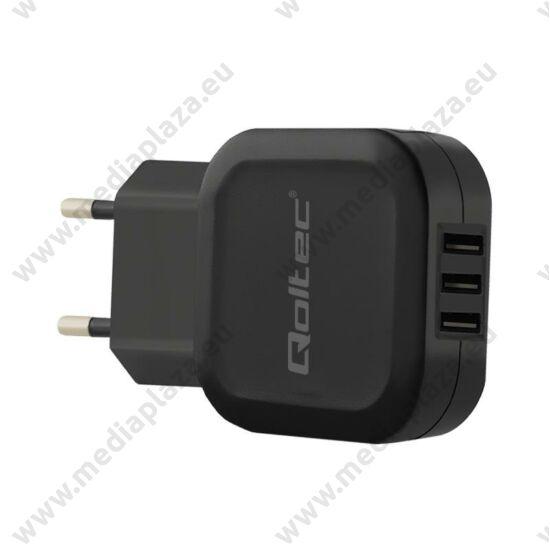 QOLTEC UNIVERZÁLIS USB TÖLTŐ 3xUSB PORT 17W 5V 3.4A FEKETE