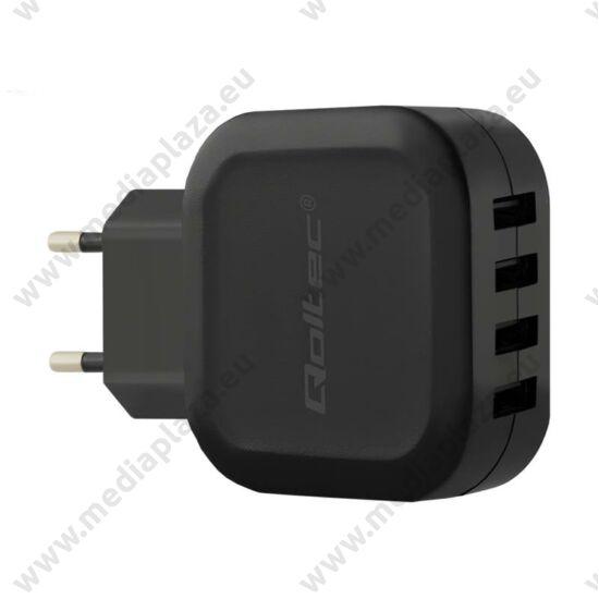 QOLTEC UNIVERZÁLIS USB TÖLTŐ 4xUSB PORT 24W 5V 4.8A FEKETE