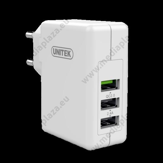UNITEK Y-P537A UNIVERZÁLIS USB TÖLTŐ 3xUSB PORT 24W 2.4A QUICK CHARGE 2.0