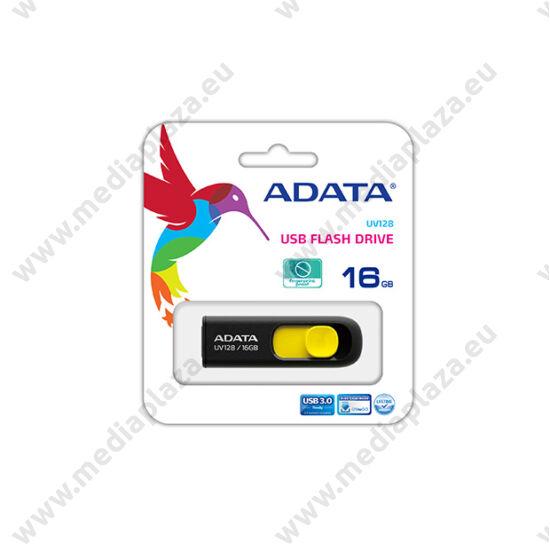 ADATA USB 3.0 DASHDRIVE CLASSIC UV128 16GB FEKETE/SÁRGA