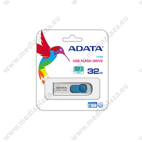 ADATA USB 2.0 PENDRIVE CLASSIC C008 32GB FEHÉR/KÉK