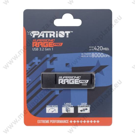 PATRIOT SUPERSONIC RAGE PRO USB 3.2 GEN 1 PENDRIVE 256GB (420 MB/s OLVASÁSI SEBESSÉG)