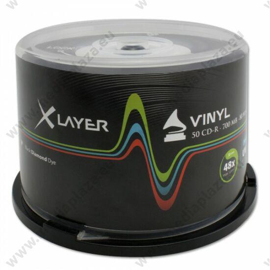 XLAYER CD-R 48X BLACK VINYL NYOMTATHATÓ CAKE (50)